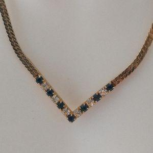 Vtg 80s Avon Chevron Necklace Faux Sapphire Rhines